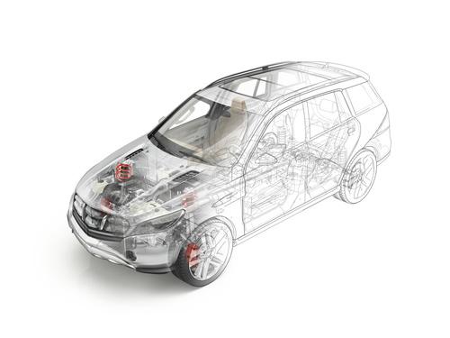 Technische Zeichnung eines Autos